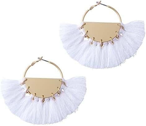 Badu Tassel White Earrings Gold Hoop Round Jewelry Big Sector