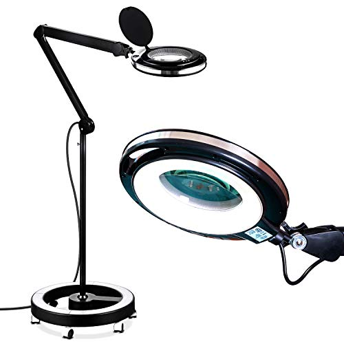 Brightech LightView Pro LED Magnifying Glass Floor Lamp - 5 Diopter Lens - 6 Wheel Rolling Base Reading Magnifier Light with Gooseneck - for Professional Tasks and Crafts ()