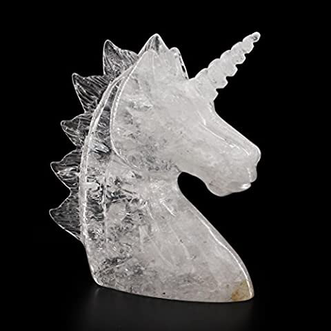 Tianmai Natural Crystal Handcrafted Unicorn Skull Figurine, Healing Energy Carved Crystal Gemstone - Crystal Unicorn