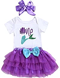 6574a5ba385b6 3PCS Toddler Baby Girls Outfit One Mermaid Romper Top+Tutu Skirt + Headband  Clothes Set