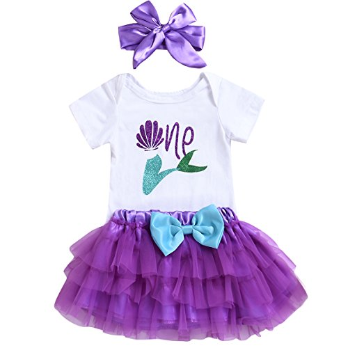 3PCS Toddler Baby Girls Outfit One Mermaid Romper Top+Tutu Skirt + Headband Summer Clothes Set (12-18 Months)
