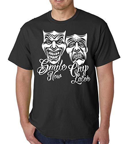 Smile Now Cry Later Shirt - Drama Mask Chicano Art Men's Heavyweight Tee Shirt for $<!--$19.99-->