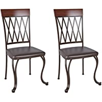 CorLiving DJS-479-C Jericho Metal Dining Chair with Dark Brown Bonded Leather Seats, Set of 2