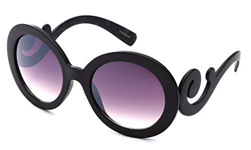 Newbee Fashion - Kyra Oversized Round Loop Design Hoops Fashion Sunglasses for - Inspired Designer Sunglasses