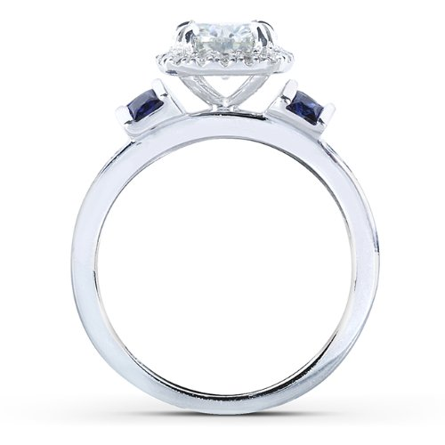 Round cut Moissanite Bridal Set with Diamond & Sapphire 2 CTW 14k White Gold (3 Piece Set)