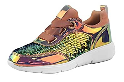 LUCKY STEP Sequin Shoes for Walking Womens Sneakers with Metallic Lace up Shoes - Shiny and Comfortable Multi-Color Size: 6
