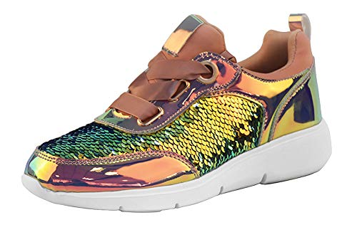 LUCKY-STEP Women Casual Sneakers Metallic PU Sequins Iridescent Lace Up Walking Shoes (7.5 B(M) US, Pink Hologram) ()
