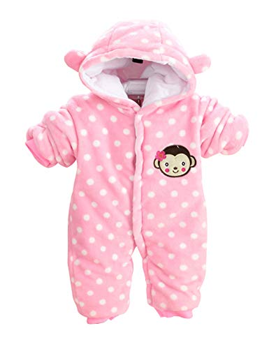 XMWEALTHY Baby Girls Boys Bodysuits Winter Hooded Infant Jumpsuits Rompers Jacket Coats Light Pink 3-6M