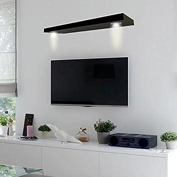 Wall Shelf For Cable Box Wood   Black Finish LED Lighted Floating Storage  Unit Bundle