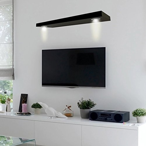 Wall Shelf For Cable Box Wood - Black Finish LED Lighted ...