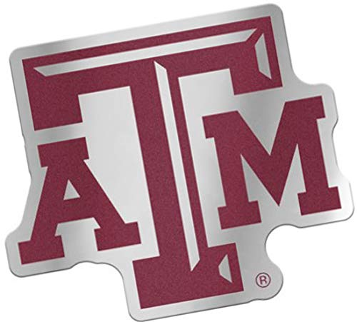 (Texas A&M Aggies Auto Badge Decal, Hard Thin Plastic, 4.2x3.6 inches)