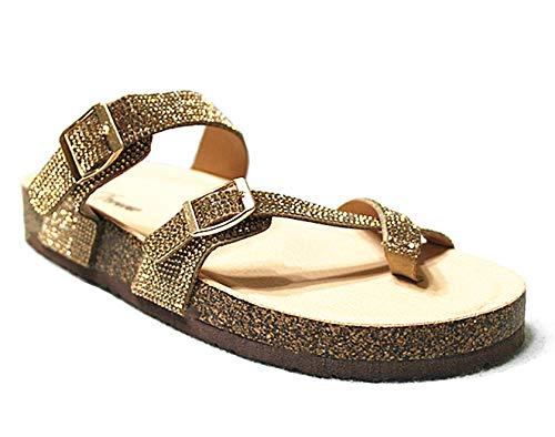 Forever Link SF BIRKEN Womens Glitter Thong Slip On Casual Slide Flip Flop Sandals (9 M US, Gold-03)