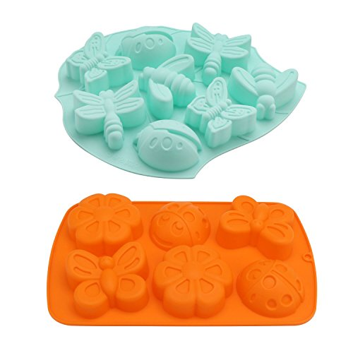 Soap Molds, Beasea 2pcs 6 Cavity Insect Silicone Mold Butterfly Mold DIY Silicone Mold for Bath Bomb, Lotion Bars, Chocolate, Candy, Jello, Crayon, Baking Cupcake (Random Color)