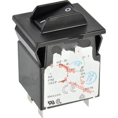 Carling MB2-B-24-490-1-A24-2-D Circ. Breaker Hyd/Mag Rocker 2-P 9A Ser. Trip Med Delay QC Tab 125/250VAC - Mag 250 Tabs