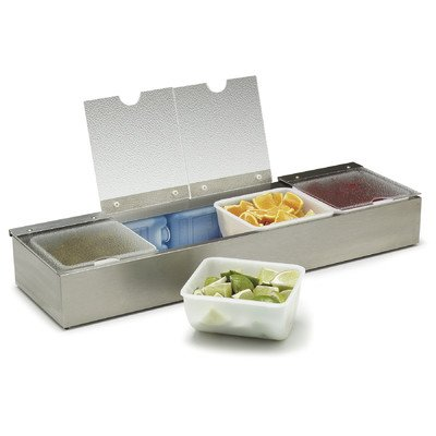 Carlisle 38704CSIB Stainless Steel Four-Quart Insulated Condiment Caddy with Four Lids, 25-1/8'' x 7-5/8'' x 3-5/8''