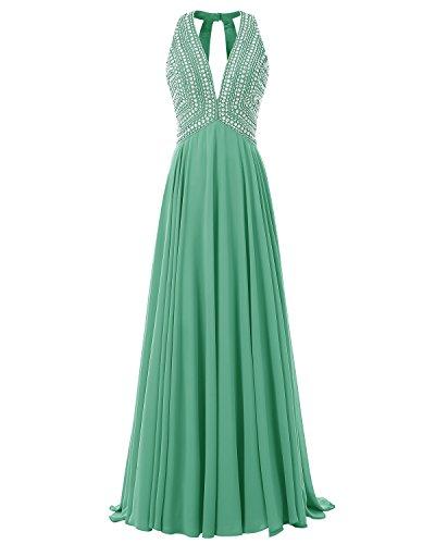V 017 Abito Chiffon Abito Prom Formale Perline Lungo Verde A Bridesmay Scollo Sera Con 2 vxqw88