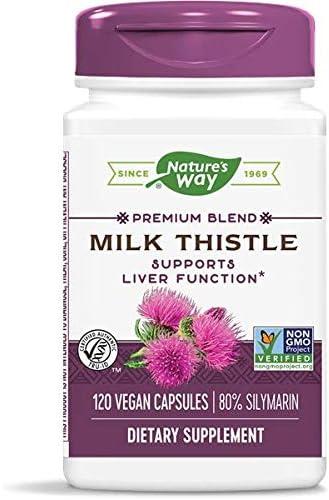 Nature's Way Milk Thistle, Premium Blend, 80% Silymarin per serving, Non-GMO, 120 Capsules
