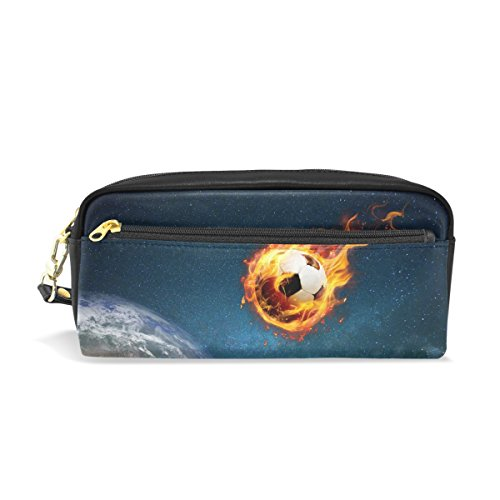 LEISISI Football from The Universe School Pencil Bag PU Leather Stationery Pouch Case Women Cosmetic Bag Large Capacity