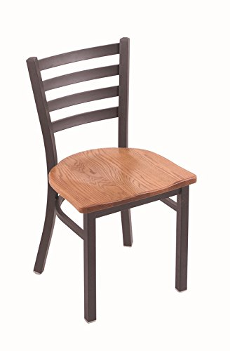 """Holland Bar Stool 400 Jackie 18"""" Chair with Pewter Frame Finish and Your Choice of Wood or Upholstered Seat, Medium Oak"""