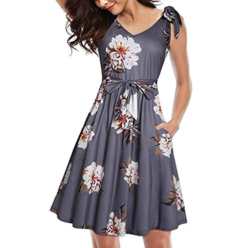 Women's Swing Dress Floral V-Neck Summer Dress Casual Bow Tie Pocket Sundress with Belts Gray ()
