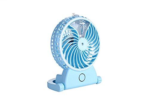 [Blue]A29 Portable Creative Summer Humidifier Mini Fan USB Rechargeable Water Mist Fan Office Home Round Table Pedestal Cooling Fan