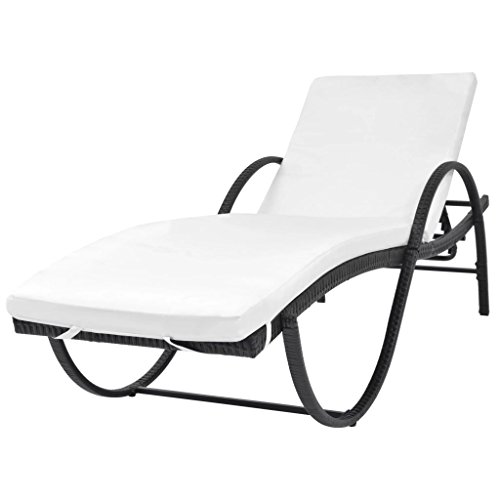 Festnight Outdoor Patio Wicker Chaise Lounge Chairs Pool Sun Lounger Poly Rattan
