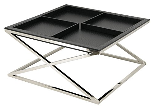 Black Faux Ostrich - Empire Art Direct EXL-1001-04BLK-SS Cocktail Table 32 in. X 32 in. X 15 in Elegant Black Faux Ostrich Skin