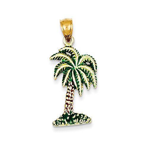 Diamond2Deal 14k Yellow Gold Enameled Palm Tree Pendant