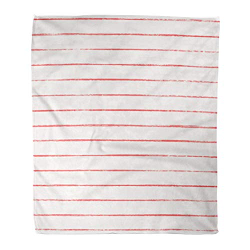 Emvency Throw Blanket Warm Cozy Print Flannel Striped Thin Rough Grungy Red Stripes on White Shabby Effect Naive Comfortable Soft for Bed Sofa and Couch 60x80 Inches ()