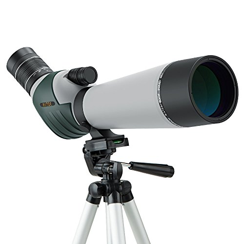 ELLTOE 20-60x80mm Porro Prism Spotting Scope with Tripod, 45-Degree Angled Big Eyepiece,Waterproof...