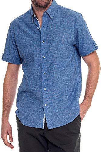 Retro Lounge - Woody's Retro Lounge Men's Essentials Linen Short-Sleeve Shirt (Blue, X-Large)