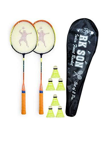 Rk son Love Badminton kit Rackets 6 pcs Shuttle Nylon 1 pcs Cover All India profenal India Shaft Manufacture