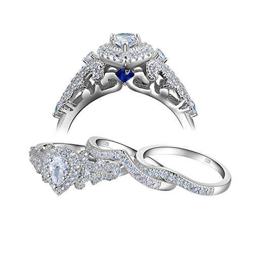 (Newshe Wedding Engagement Ring Set for Women 925 Sterling Silver 3pcs 1.4Ct Pear White Cz Size)