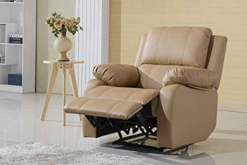 Classic Bonded Leather Oversize Recliner Chair (Hazelnut) (Beige Leather Recliner)