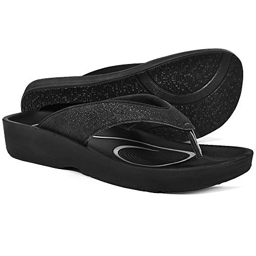 AEROTHOTIC Original Orthotic Comfort Thong Sandal and Flip Flops with Arch Support for Comfortable Walk (US Women 9, Crystal Black)