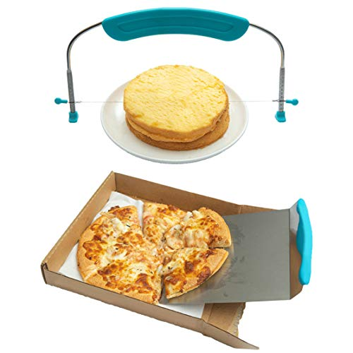 11 Inch Adjustable Cake Leveler With Stainless Steel Wire & 8 Inch Cake Lifter, Pizza Peel, Baking Tools Set of 2