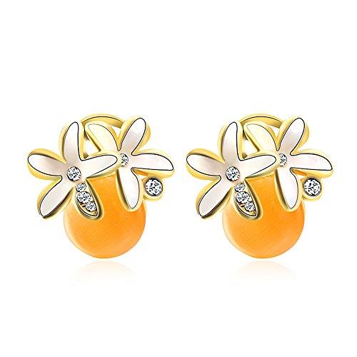TIDOO Fashion Earrings Gold Plated Yellow Opal Cat Eyes White Flower Crystal Earrings (Flower Eye White Cats)
