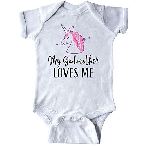 - inktastic - Godmother Loves Me Unicorn Girls Infant Creeper 6 Months White