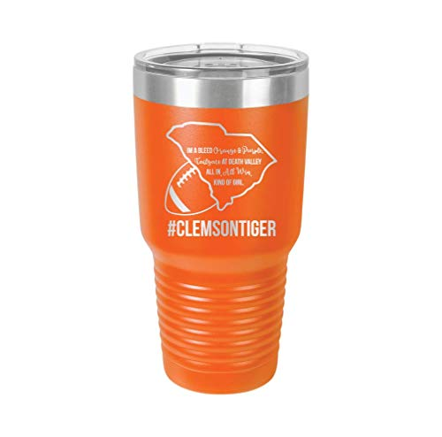 Clemson Football Girl - Engraved Tumbler Wine Mug Cup Unique Funny Birthday Gift Graduation Gifts for Men or Women Football Clemson Gamecock Tailgate Tigers Foot Ball NFL (30 Ring, ()