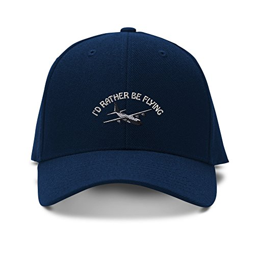C-130 Rather Be Flying Pilot Embroidery Adjustable Structured Baseball Hat Navy