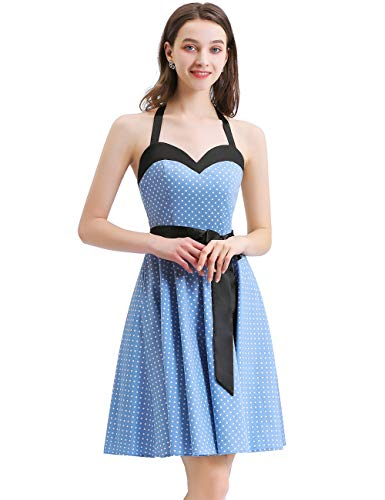 (1950 Halter Dresses for Women, Vintage Sweetheart Neck Retro Cocktail Dress Semi Formal Fit and Flare Midi Dress for Evening PartyBlue Small White Dot L)