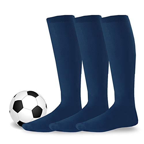 ff2525acf4e TeeHee Cotton Unisex Soccer Sports Team Flat Knit Socks 3 Pack (Large (10-