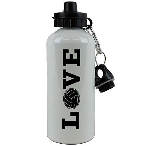 20 Oz Team Sports Bottle - CustomGiftsNow Love Volleyball Sports Team Aluminum White Finish 20-Ounce Sport Water Bottle (Black)