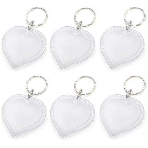 GOGO 25 PCS Acrylic Photo Keychains, 2 Inch Heart Shape, Great for DIY Gift