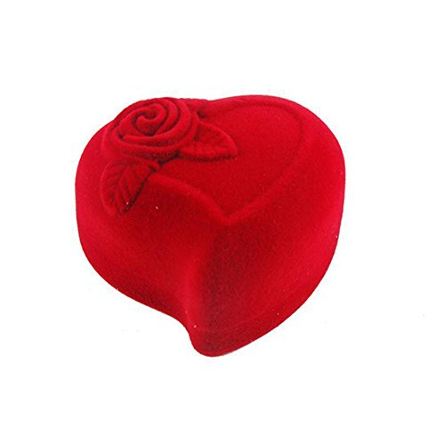 Elaco Mini Heart Velvet Jewllery Gift Box for Rings and Small Earrings Pendant Necklace Case(Red 1)
