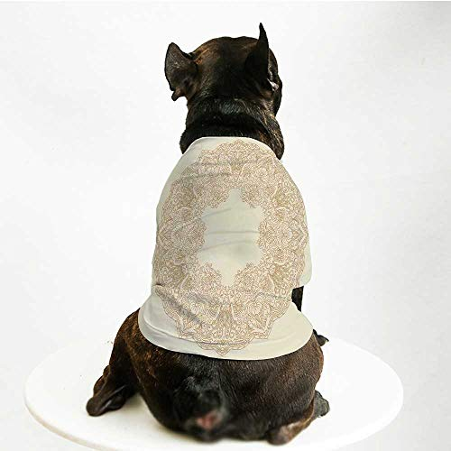 YOLIYANA Beige Skin Friendly Pet Suit,Old Fashion Embriodery Style Floral Circle Victorian Feminine Sophisticated Chic Boho Artprint Decorative for Pet -