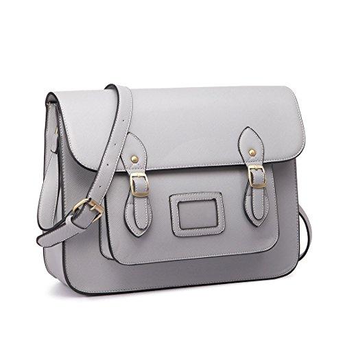 lunares Satchel Gris funda bolsa Lulu maletín trabajo Escolar Vintage sintética Miss Gris de piel marca Mochila PIw1WqR