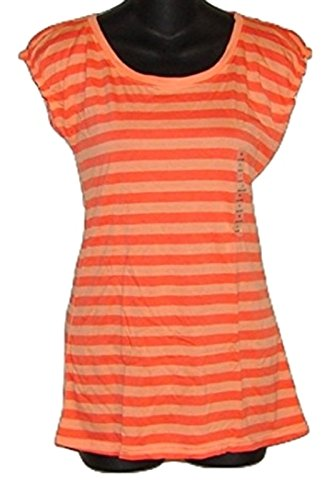 Blouse Orange Stripes Cap Sleeve Women (M) ()