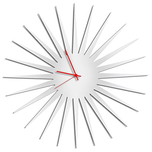 (Metal Art Studio Retro Kitchen Clocks 'MCM Starburst White Clock' | Unique Vintage Starburst Decor, Contemporary Bathroom Wall Clock (Red Hands) )