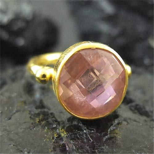 Ancient Design Handmade Hammered Cabachon Pink Quartz Ring 22K Gold Over 925K Sterling Silver